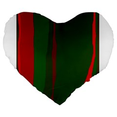 Green and red lines Large 19  Premium Heart Shape Cushions
