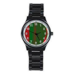 Green and red lines Stainless Steel Round Watch