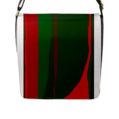 Green and red lines Flap Messenger Bag (L)