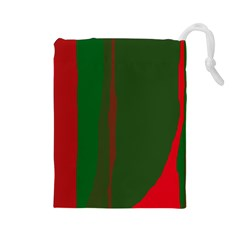 Green and red lines Drawstring Pouches (Large)
