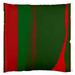Green and red lines Large Flano Cushion Case (One Side)