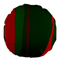 Green and red lines Large 18  Premium Flano Round Cushions