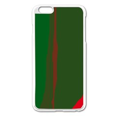 Green and red lines Apple iPhone 6 Plus/6S Plus Enamel White Case