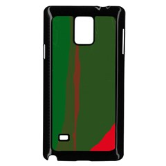 Green and red lines Samsung Galaxy Note 4 Case (Black)