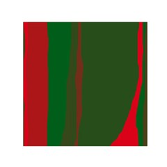 Green and red lines Small Satin Scarf (Square)