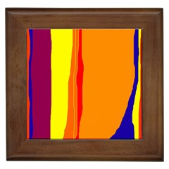 Hot colorful lines Framed Tiles