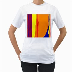 Hot colorful lines Women s T-Shirt (White) (Two Sided)