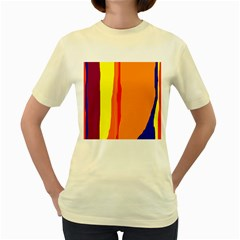 Hot colorful lines Women s Yellow T-Shirt