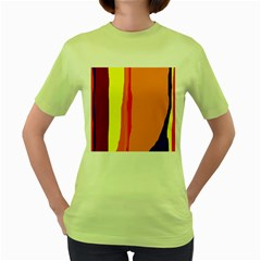 Hot colorful lines Women s Green T-Shirt