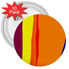 Hot colorful lines 3  Buttons (10 pack)