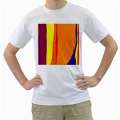 Hot colorful lines Men s T-Shirt (White) (Two Sided)