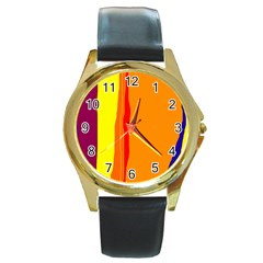 Hot colorful lines Round Gold Metal Watch
