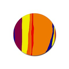 Hot colorful lines Rubber Round Coaster (4 pack)