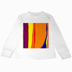 Hot colorful lines Kids Long Sleeve T-Shirts