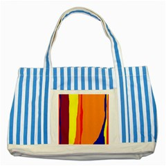 Hot colorful lines Striped Blue Tote Bag
