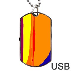 Hot Colorful Lines Dog Tag Usb Flash (one Side)