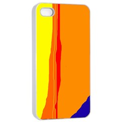 Hot colorful lines Apple iPhone 4/4s Seamless Case (White)