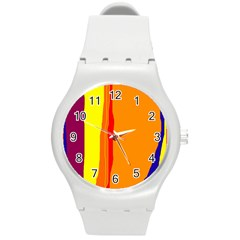 Hot colorful lines Round Plastic Sport Watch (M)