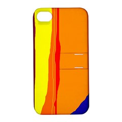 Hot Colorful Lines Apple Iphone 4/4s Hardshell Case With Stand
