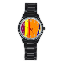 Hot colorful lines Stainless Steel Round Watch