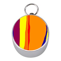 Hot colorful lines Mini Silver Compasses