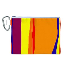 Hot colorful lines Canvas Cosmetic Bag (L)