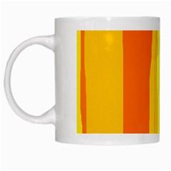 Yellow and orange lines White Mugs