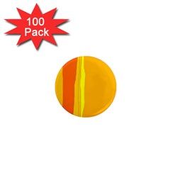 Yellow and orange lines 1  Mini Magnets (100 pack)