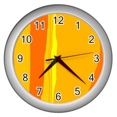 Yellow and orange lines Wall Clocks (Silver)