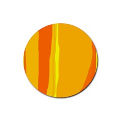 Yellow and orange lines Rubber Round Coaster (4 pack)