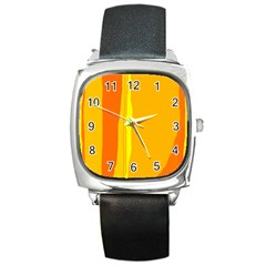 Yellow and orange lines Square Metal Watch