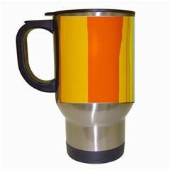 Yellow and orange lines Travel Mugs (White)