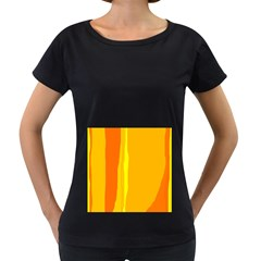 Yellow and orange lines Women s Loose-Fit T-Shirt (Black)