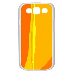 Yellow and orange lines Samsung Galaxy S III Case (White)