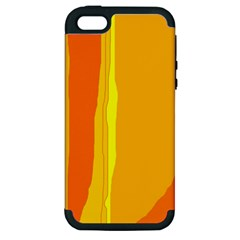 Yellow and orange lines Apple iPhone 5 Hardshell Case (PC+Silicone)