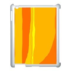 Yellow and orange lines Apple iPad 3/4 Case (White)