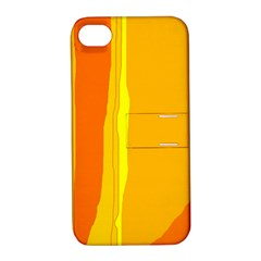 Yellow and orange lines Apple iPhone 4/4S Hardshell Case with Stand