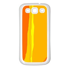 Yellow and orange lines Samsung Galaxy S3 Back Case (White)