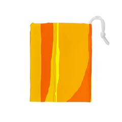 Yellow and orange lines Drawstring Pouches (Medium)