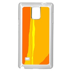 Yellow and orange lines Samsung Galaxy Note 4 Case (White)