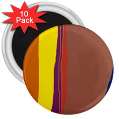 Colorful lines 3  Magnets (10 pack)