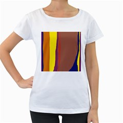 Colorful lines Women s Loose-Fit T-Shirt (White)