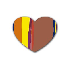 Colorful lines Rubber Coaster (Heart)