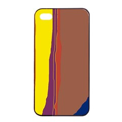 Colorful lines Apple iPhone 4/4s Seamless Case (Black)