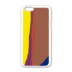 Colorful lines Apple iPhone 6/6S White Enamel Case