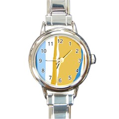 Blue and yellow lines Round Italian Charm Watch