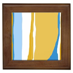 Blue and yellow lines Framed Tiles