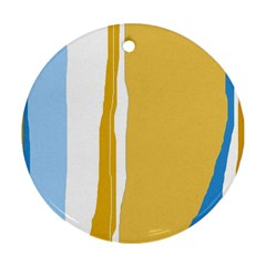 Blue and yellow lines Ornament (Round)