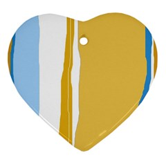 Blue and yellow lines Ornament (Heart)