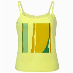Blue and yellow lines Yellow Spaghetti Tank